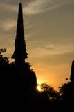 Wat Si Sanphet Thailand. Color of sunset Wat Pra Si Sanphet silhouette Thailand Stock Images