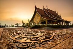 Wat Sirindhornwararam, beautiful Buddhist temple for tourism in. Ubonratchathani, Thailand - April 20, 2016: Wat Phu Prao or Wat Siridhornwararam, beautiful royalty free stock photos