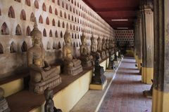 Wat Sisaket - one of the famous Vientiane temples with sculptures of thousands of buddhas royalty free stock photos