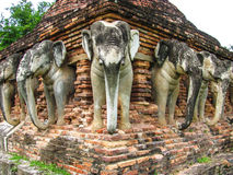 Wat Sorasak is a chedi with elephants figures encircling its base Stock Images