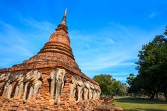 Wat Sorasak Temple at Sukhothai Historical Park, a UNESCO World Heritage Site Royalty Free Stock Photo