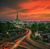 Wat Sothon. A beautiful temple in Twilight (Wat Sothon, Chachoengsao, Thailand Royalty Free Stock Images