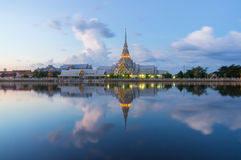 Wat Sothon Wararam Worawihan in the twilight, Chachoengsao, Thailand.  royalty free stock images
