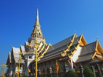 Wat Sothorn Wararam Worawihan, Chachoengsao Province, Thailand. Beautiful architecture Stock Photography