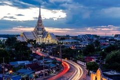 Wat sothorn wararam worawihan temple Cha choeng sao province Tha. Wat sothorn wararam worawihan temple choeng sao province Thailand at twilight stock images