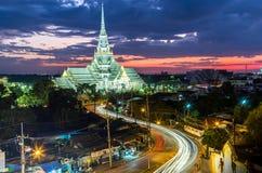 Wat sothorn wararam worawihan temple Cha choeng sao province Tha. Wat sothorn wararam worawihan temple choeng sao province Thailand at twilight Royalty Free Stock Photography