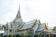 White temple. Wat sothorn in Chachoengsao province. Thailand Stock Photos