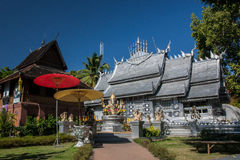 Wat Sri Suphan ,Chiangmai. The first pure silver ordination hall in world was build here at Wat Srisuphan in Chiang Mai. The Buddhist Temple in Lanna style stock photography