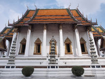 Wat Suthat, the Rama I temple under cloudy sky. Wat Suthat Thepwararam was the Rama I temple, under cloud sky, Bangkok, Thailand Stock Photos