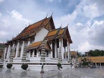 Wat Suthat, the Rama I temple under cloudy sky. Wat Suthat Thepwararam was the Rama I temple, under cloud sky, Bangkok, Thailand Royalty Free Stock Image