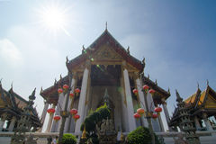 Wat Suthat Thep Wararam. (Thai: วัดสุทัศนเทพวราราม, Thai pronunciation: [wát su.tʰát tʰêːp.wáʔraːraːm]) is a Royalty Free Stock Photos
