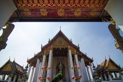 Wat Suthat Thep Wararam. (Thai: วัดสุทัศนเทพวราราม, Thai pronunciation: [wát su.tʰát tʰêːp.wáʔraːraːm]) is a Royalty Free Stock Photo