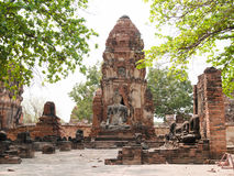 Wat tailandês bonito velho Mahathat do templo no parque histórico de Ayutthaya Fotografia de Stock Royalty Free