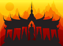 Wat thai pagoda buddha vector Royalty Free Stock Photography