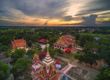 Wat thai, sunset in temple Thailand,They are public domain or tr Royalty Free Stock Images
