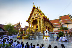 Wat Thai. Thai Temple gold in twilight Stock Photos
