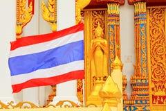 Thailand Flag At Wat Tham Bucha, Surat Thani, Thailand royalty free stock photo