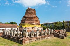 Wat Thammikarat用明亮的黄色丝带装饰的寺庙废墟 库存照片
