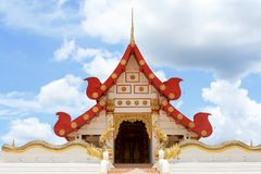 Wat Thaphatai, Phayao. The scene of Wat Thaphatai was taken in sky and cound background Stock Photography