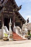 Wat Ton Kain, capilla de madera de la teca vieja en el chiangmai, Tailandia Foto de archivo