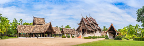 Wat Ton Kain, Old temple made from wood  in Chiang Mai Thailand. Panorama shot of Wat Ton Kain, Old temple made from wood  in Chiang Mai Thailand Stock Images