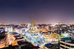 Wat Traimit in Bangkok - Temple of Golden Buddha. Near the China town at night from bird`s-eye view Royalty Free Stock Photos