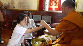 Wat Traimit tempel i Bangkok arkivfilmer