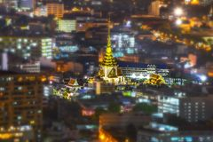Wat Trimitr witthayaram worawiharn temple. Shoot from the top of building Stock Image