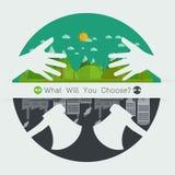 Wat u concept vriendschappelijke Eco zal kiezen of Milieu zal vernietigen Royalty-vrije Stock Fotografie