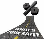 Wat Uw Woorden 3d Illu van Renterate loan mortgage credit road is Royalty-vrije Stock Afbeeldingen