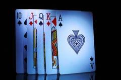 Wat van speelkaarten, van tien aan aas Stock Foto's