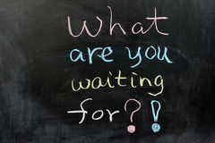 Wat wacht u op? Stock Fotografie