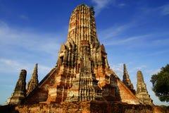 Wat柴Watthanaram寺庙。阿尤特拉利夫雷斯 库存照片