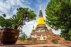 Wat Yai Chai Mongkhon av det Ayuthaya landskapet Arkivbilder