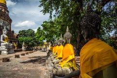 Wat Yai Chai Mongkhon av det Ayuthaya landskapet Royaltyfria Bilder