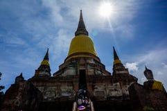 Wat Yai Chai Mongkhon av det Ayuthaya landskapet Royaltyfri Fotografi