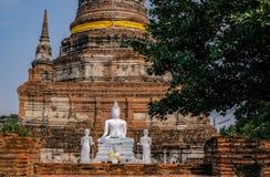 Wat Yai Chai Mongkhon At-Dag, Ayutthaya-Provincie Stock Foto