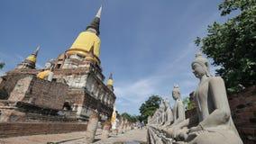 Wat Yai Chai Mongkhon ou o grande monastério da vitória auspicioso em Ayutthaya de Tailândia Foto de Stock