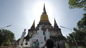 Wat Yai Chai Mongkhon ou o grande monastério da vitória auspicioso em Ayutthaya de Tailândia imagem de stock