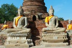 Wat Yai Chai Mongkhon Temple a Ayutthaya, Tailandia Immagine Stock Libera da Diritti