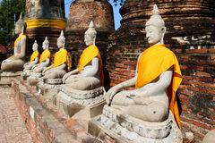 Wat Yai Chai Mongkhon Temple em Ayutthaya, Tailândia Fotografia de Stock Royalty Free