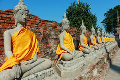 Wat Yai Chai Mongkhon Temple em Ayutthaya, Tailândia Fotos de Stock Royalty Free