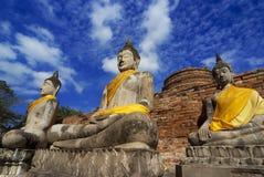 Wat Yai Chai Mongkol Ayudhya Arkivbilder