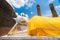 Wat Yai Chai Mongkol Ayudhya Arkivfoton