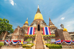 Wat Yai Chai Mongkol Ayudhya Royaltyfri Fotografi