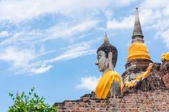 Wat Yai Chai Mongkol Ayudhya Arkivfoto