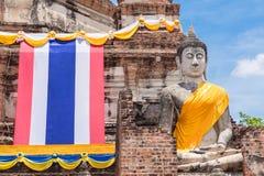Wat Yai Chai Mongkol Ayudhya Royaltyfria Foton
