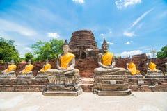 Wat Yai Chai Mongkol, Ayudhya. Rows of Buddha images at Wat Yai Chai Mongkol, Ayudhya Province, Thailand Stock Photos