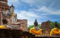 Wat Yai Chai Mongkol chez Ayutthay Photo stock