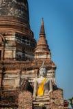 Wat Yai Chai Mongkol in het Historische Park van Ayutthaya Monaster Royalty-vrije Stock Foto's